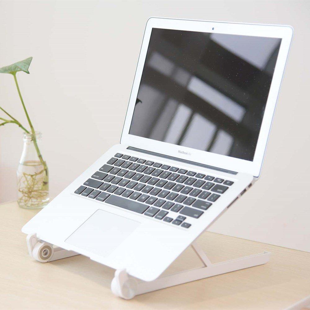 URBAN KINGS XGEAR White Colour Adjustable Foldable Portable Reinforced Nylon Ergonomic Laptop Stand Riser